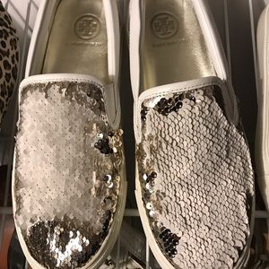 Tory Burch Shoes - Tory Burch slide white sequin sneakers